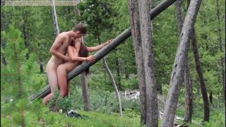 Teen couple fucking in doggy on the tree