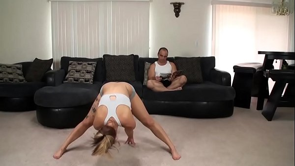 Brunette wife needs relief after workout