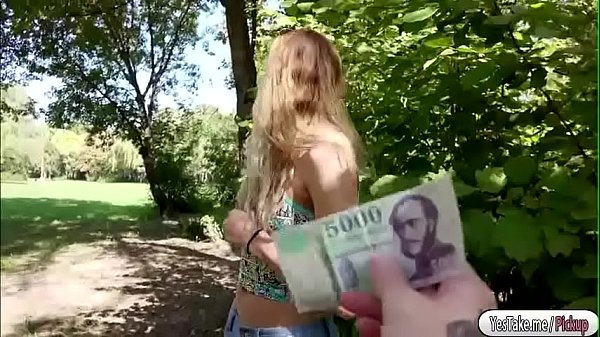 Teen blonde hot fucking a stranger for cash